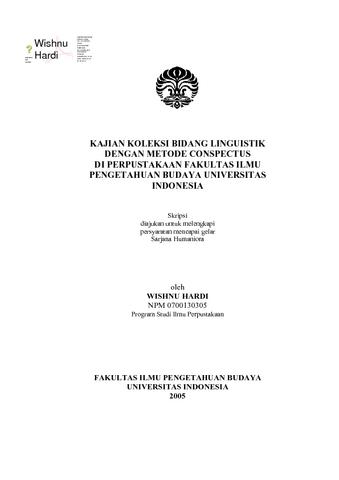 Kajian Koleksi Bidang Linguistik Dengan Metode Conspectus Di Perpustakaan Fakultas Ilmu Pengetahuan Budaya Universitas Indonesia E Lis Repository