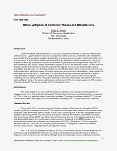 global adoption of electronic theses and dissertations Global adoption of electronic theses and electronic theses and dissertations an electronic thesis and dissertation submission protocol was implemented.
