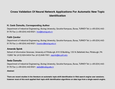 Cross Validation Of Neural Network Applications For