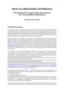 Digitale Bibliothek österreich Status Quo Und Perspektiven