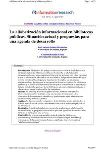 La alfabetización informacional en bibliotecas públicas: situación actual y propuestas para una agenda de desarrollo - E-LIS repository